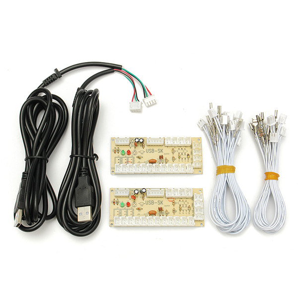 아재몰 해외직배송 아케이드 게임 악세사리_Arcade Encoder PC To 2pin Joystick + Happ Button 4.8mm Wires Zero Delay USB