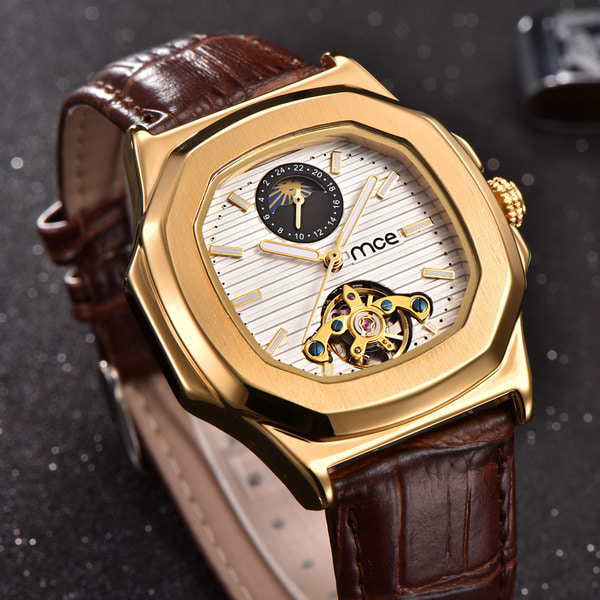 아재몰 기계식 손목시계_Gold Case Men Watch Moon Phase Business Style Leather Strap Automatic Mechanical Watch
