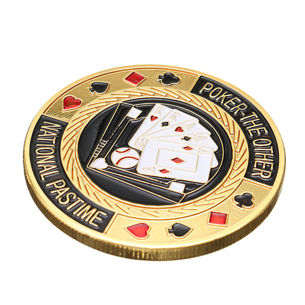 아재몰 퍼즐 게임 교육용 장난감 Metal Poker Guard Card Protector Coin Chip Gold Plated With Round Plastic Case