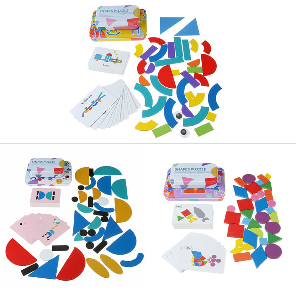 아재몰 아기 장난감 게임 퍼즐_Multi-pattern Wooden Puzzle Building Blocks Baby Early Education Learning Toys