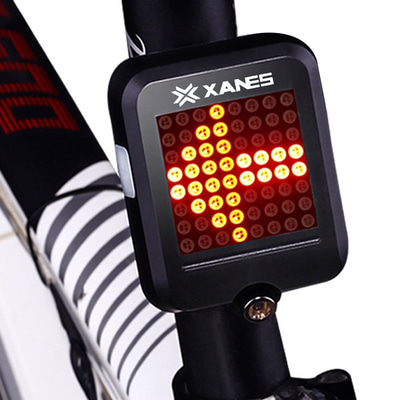 아재몰_(1141068)_자전거 라이트 조명_XANES 64 LED 80LM Intelligent Automatic Induction Steel Ring Brake Safety Bike Tail Light with Infrared Laser