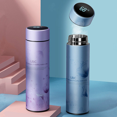 아재몰_스테인레스 물병 캠핑 휴대용컵_IPRee 450ML Vacuum Cup Colorful Temperature Display Water Bottle Traveling 304 Stainless Steel Water Cup