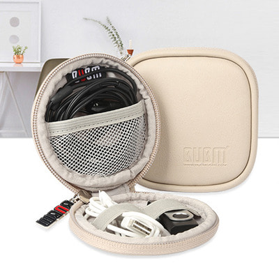 아재몰_(1409258)_캠핑 여행 가방_IPRee PU Leather Earphone Storage Case Travel Portable Waterproof USB Data Cable Charger Holder Bag