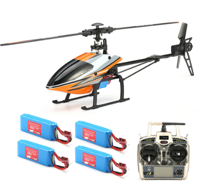 [아재몰]_RC헬리콥터_WLtoys V950 2.4G 6CH 3D6G System Brushless Flybarless RC Helicopter RTF With 4PCS 11.1V 1500MAH Lipo Battery